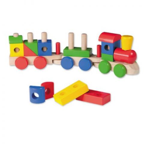 Joueco Drewniana kolejka pociąg z klockami