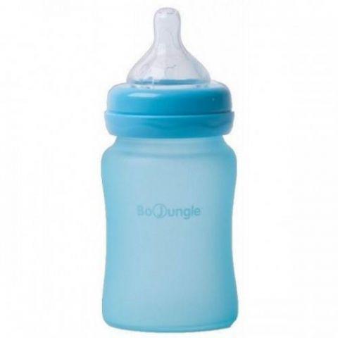 Bo Jungle B-Thermo butelka szklana dla niemowląt 150 ml Turkusowa