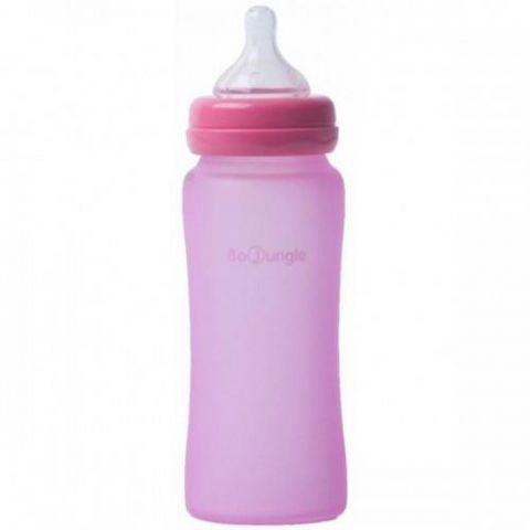 Bo Jungle B-Thermo butelka szklana dla niemowląt 300 ml Różowa