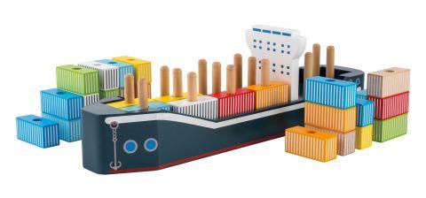 Joueco Drewniany statek z kontenerami