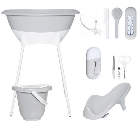 Zestaw kąpielowy 8 elementów LUMA Light Grey