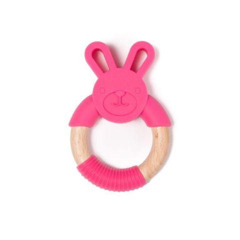 Bo Jungle B-Gryzak drewniano-silikonowy Animals Rabbit Pink
