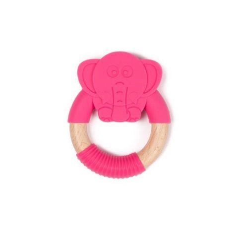 Bo Jungle B-Gryzak drewniano-silikonowy Animals Elephant Pink