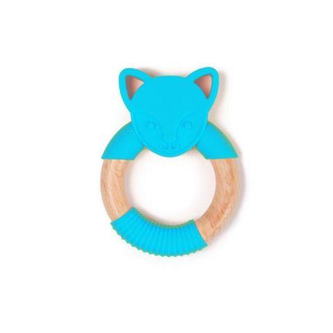 Bo Jungle B-Gryzak drewniano-silikonowy Animals Blue Fox