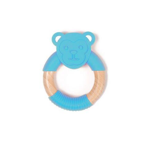 Bo Jungle B-Gryzak drewniano-silikonowy Animals Blue Monkey
