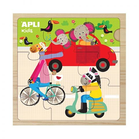 Apli Kids Drewniane puzzle dla maluszka Samochód 3+