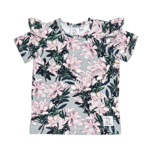 Popinjay T-shirt z falbankami Floral Grey 128/134