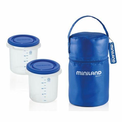 MINILAND Pojemniki z torbą izotermiczną niebieskie