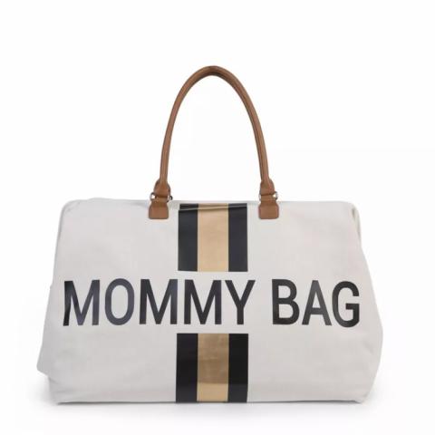 Childhome Torba Mommy Bag Paski Czarno-Złote
