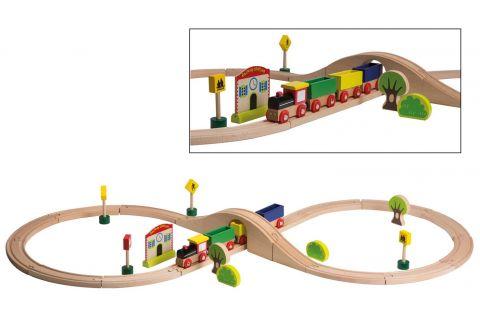 Joueco Drewniany tor kolejowy z zabawkami 30 szt.