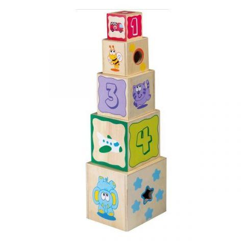 Joueco Drewniana wieża sorter 10 elementów