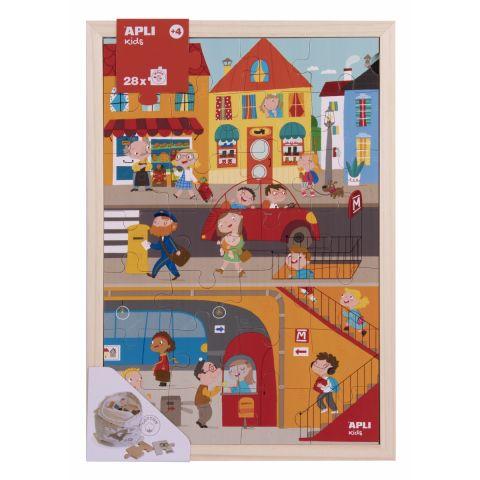 Apli Kids Drewniane puzzle w ramce Miasto 4+