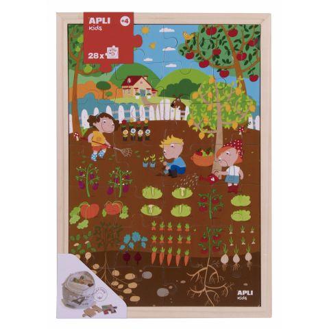 Apli Kids Drewniane puzzle w ramce Ogród 4+