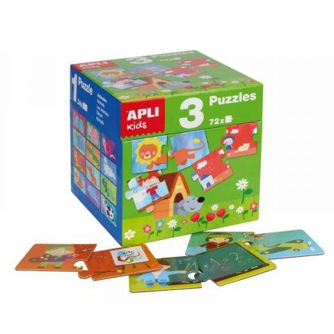 Apli Kids Zestaw Puzzli dla dzieci 3w1