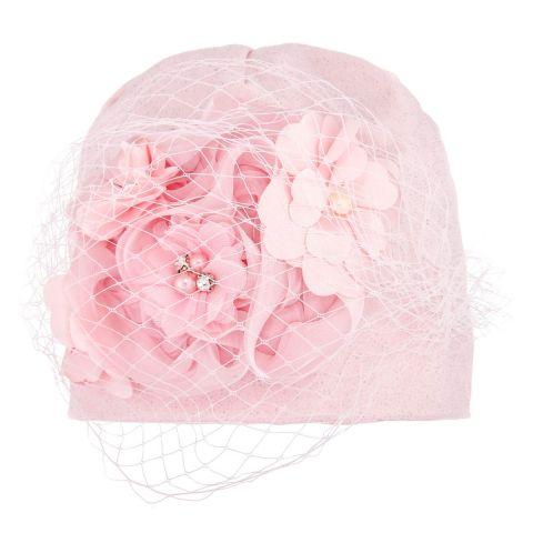 BEXA czapka z woalem różowa 50