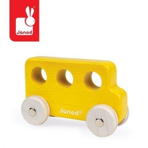drewniany autobus żółty Janod
