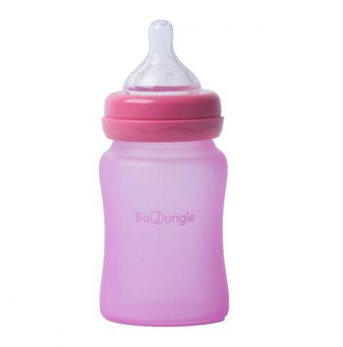 Bo Jungle B-Thermo butelka szklana dla niemowląt 150 ml Różowa