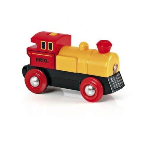 Żółta lokomotywa na baterię brio