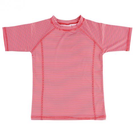 DUCKSDAY koszulka UV50 chłopięca RED STRIPE 10Y