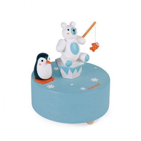 Zabawka drewniana pozytywka z pingwinem i misiem Janod