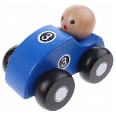 Joueco Drewniane autko niebieskie