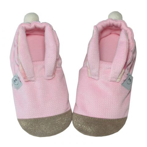 Kapcie dziecięce Baby Bisous Hello Bunny velvet pink