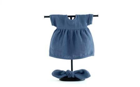 Granatowa sukienka dla lalki