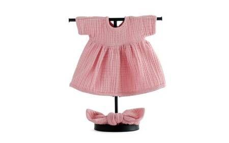 sukienka i opaska muślinowa rózowa dla lali