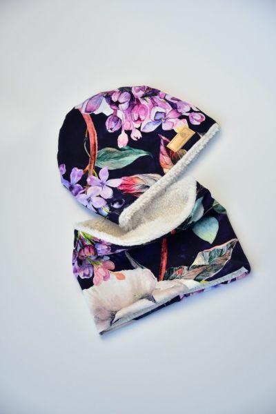 Komplet dziecięcy zimowy czapka i komin Przytulanki Filcanki Black FLOWER 1-3l.