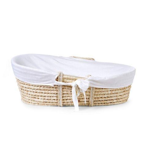 Childhome Kosz Mojżesza Basic z materacykiem + Pokrowiec Jersey Off White