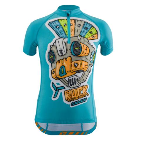 Koszulka rowerowa dla dzieci Silvini SCRIVIA Kids Sky-Orange 134-140