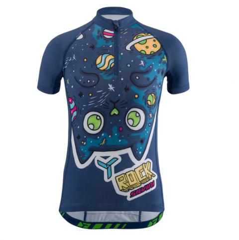 Koszulka rowerowa dla dzieci rowerowa SCRIVIA Kids Navy-Marigold 134-140