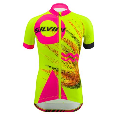 Koszulka rowerowa dziecięca Silvini Tanaro neon-pink