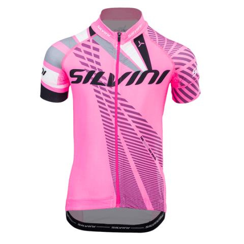 Koszulka rowerowa dziecięca Silvini team pink-cloud