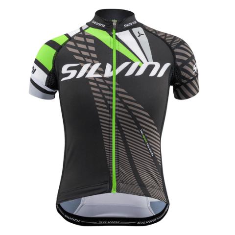 Koszulka rowerowa dziecięca Silvini team black-green