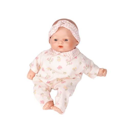 lalka bobas w różowym ubranku 26 cm