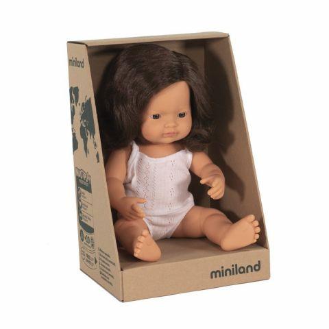 lalka miniland duża europejka z brązowymi włosami