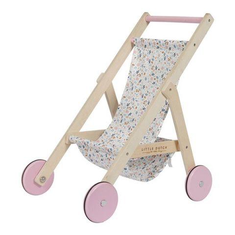 Little Dutch Drewniany wózek spacerowy dla lalek Spring flowers