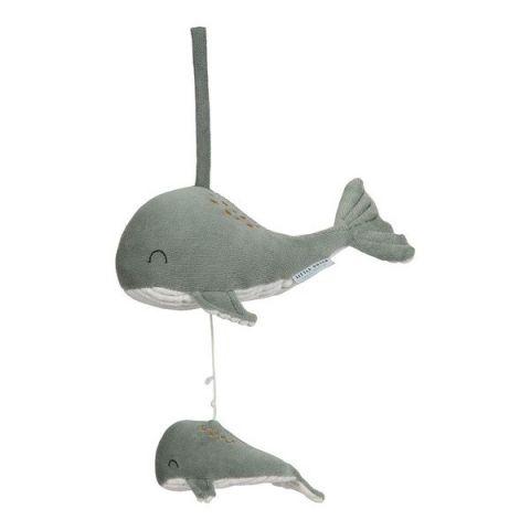 Little Dutch miętowa pozytywka pluszowa z wielorybkami
