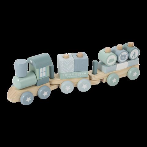 Drewniany Pociąg z klockami Błękitny Little Dutch