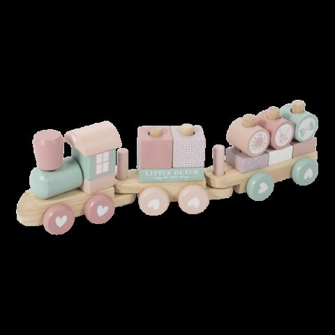 Little Dutch pociąg drewniany z torami różowy