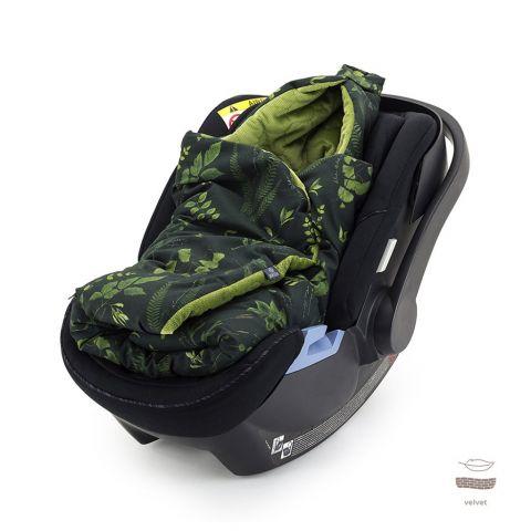 otulacz kocyk do fotelika makaszka zapinany na rzep, w kolorze zieleni