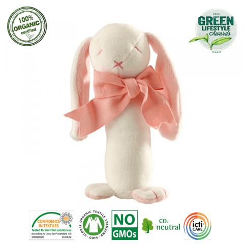 Maud N Lil Grzechotka Organiczna Miękka Rose The Bunny
