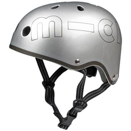 Micro kask metalik srebrny M 53-58cm