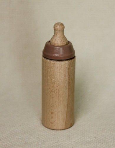 Miniland Drewniana butelka dla lalek w kolorze frappe