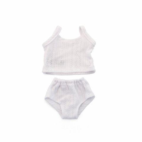 Miniland Szydełkowe ubranko bielizna dla lalki w kolorze białym