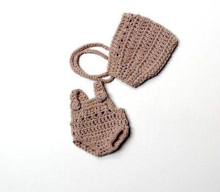Miniland Szydełkowe ubranko dla lalki 21 cm piaskowy kolor