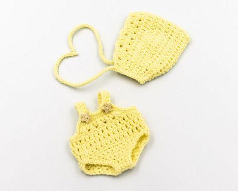 Miniland Szydełkowe ubranko dla lalki 21 cm cytrynowy kolor