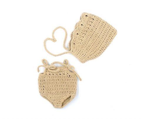 Miniland Szydełkowe ubranko dla lalki piaskowy kolor
