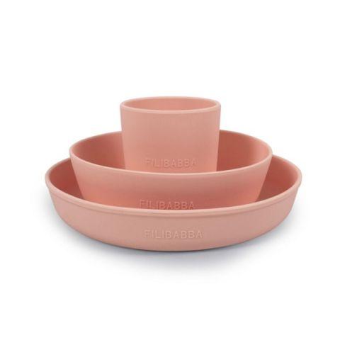 zestaw naczyń silikonowych filibabba różowy